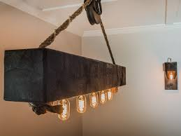 lighting stunning diy wood beam light fixture ft edison bulb chandelier with vintage barn pulley
