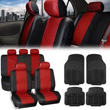 leather car suv seat covers red w black floor mats full set interior combo 0