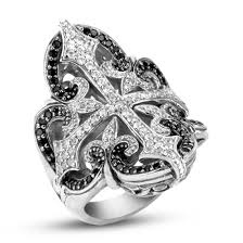 scott kay sterling filigree cross ring with pave white sapphires