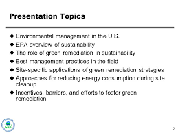 green remediation evolving best management practices ppt video  2 presentation topics environmental