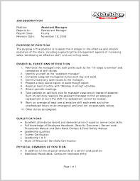 20 Resume For Assistant Manager Lock In Job Description - Sradd.me