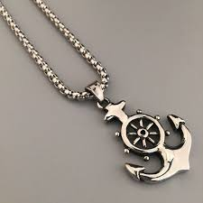 men s nautical jewelry anchor charm pendant necklaces anchor rudder pendant jewelry hip hop vine jewelry necklaces