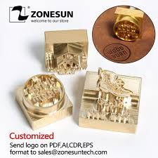 zonesun new 15mm thick leather stamp mold brand logo hot stamping emboss brass for diy gift free cost