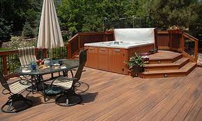 hot tub deck. A Locking Cover For Your Spa And Constant Adult Supervision Are Essential If You Have Children Or Young Guests. Shown Here: Fiberon Horizon Decking In Ipe. Hot Tub Deck B