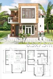 Small House Design with Full Plan 6.5x7.5m 2 Bedrooms - SamPhoas Plansearch  | Small house design, Small house design plans, Simple house design