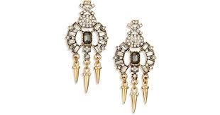 lyst abs by allen schwartz bitter not sweet jewel dagger chandelier earrings in metallic