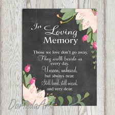 In Loving Memory Quotes Best In Loving Memory Printable Wedding From DorindaArt On Etsy