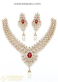 18k gold diamond necklace drop earrings set with ruby 235 ds512