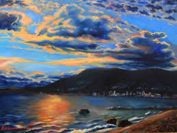 oil painting third beach sunset with west vancouver view