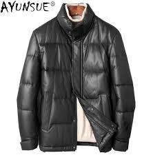 2019 ayunsue mens sheepskin coat genuine leather jacket men winter short 90 duck down jacket korean real leather jackets kj1244 from bairi