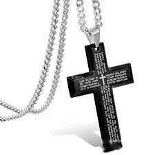 details about men s stainless steel simple black cross pendant english lord s prayer necklace