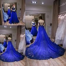 discount unique royal blue wedding dresses a line boat neck short