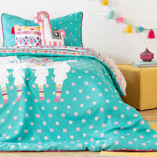 south s dreamit 5 piece festive llama turquoise and pink twin bedding set