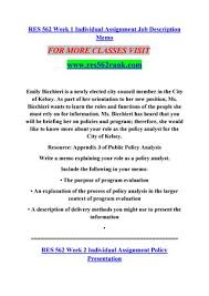 How To Write A Job Summary Extraordinary Res 48 Week 48 Individual Assignment Job Description Memo By