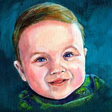 new painting little portrait of a twin baby boy