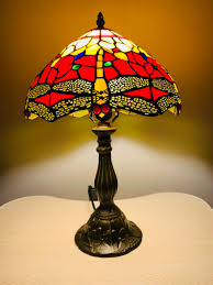 Tiffany Lamp Dragonfly Lamp Stained Glass Shade Crystal Bead Lamp Shade Antique Lampshade Stained Glass Lamp Shade Bedside Lamp Red L