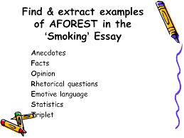 aim to learn what these two acronyms stand for and how to use them find extract examples of aforest in the smoking essay