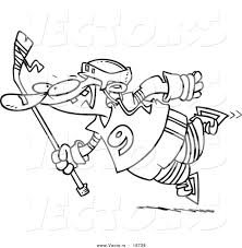 Vector of a Cartoon Leaping Hockey Player - Outlined Coloring Page ...