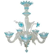 vintage murano glass chandelier of murano crystal with blue accents