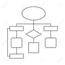 Diagram Flow Chart Connection Empty Vector Illustration Dotted