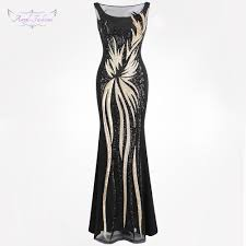 Angel Fashion Design Us 55 99 Angel Fashions Womens Sheer Evening Dresses Round Neck Vintage Sequin Splicing Dress Gold 403 Party Kleid In Evening Dresses From Weddings