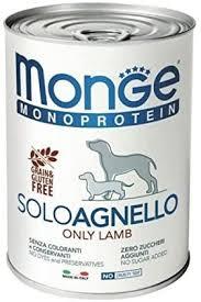 <b>Monge Monoprotein Solo</b> Lamb Wet Food for <b>Dogs</b> 12 x 400 g ...