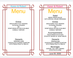 Menu Templates Microsoft Word