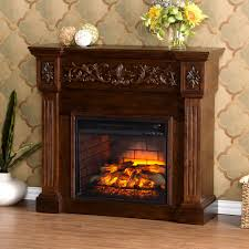 w carved infrared electric fireplace in espresso