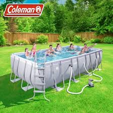 coleman 18ft power steel rectangular above ground swimming pool set 18x9x4 new