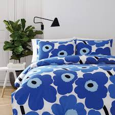 marimekko unikko blue full queen duvet cover set