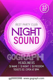 Concert Invite Template Clip Art Vector Electro Dance Party Music Night Poster