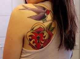 I turn the other shoulder | ink | Pinterest | Key heart tattoos ... & tattoo with lock in red rose and swallow with key - Heart tattoos Adamdwight.com