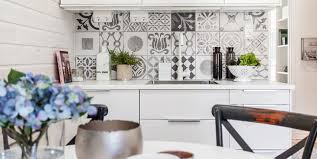 kitchen black and white cement tiles