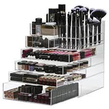 large 6 tier acrylic makeup organiser storage cube clear cosmetic organiser 5 drawer removable