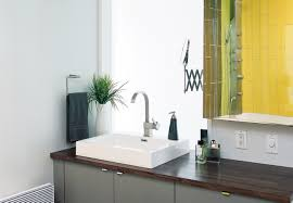 dwell bathroom ideas beautiful modern bathroom  appealing modern bathroom furniture with gray vanity unit cabinet combined square porcelain sink attached in wooden table top and curves faucet featuring soap dispenser and stylish towel bar beside fr