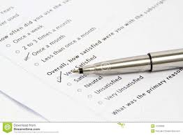 Pen Pointing At Survey And Questionnaire Form Stock Image Image Of