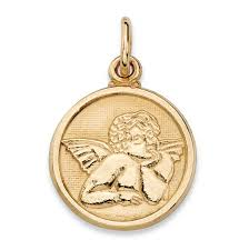 round cherub angel embossed charm pendant in 14k yellow gold 3 4 at palmbeach jewelry