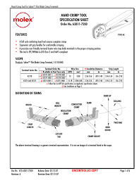 Hand Crimp Tool Specification Sheet Order No 63811 7200