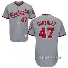 Mens Majestic Washington Nationals 47 Gio Gonzalez Grey