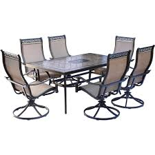 Outdoor Dining Sets For 6 Fire Pit The Home Depot Monaco 7piece Aluminum Outdoor Dining Set With Rectangular Tiletop Table And Contoured Sling Swivel Chairs Hanover