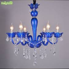new modern crystal pendant lights blue chandelier lighting fixture candle lamp