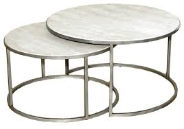 decoration in metal round coffee table hammary silver metal round nesting coffee tables travertine top
