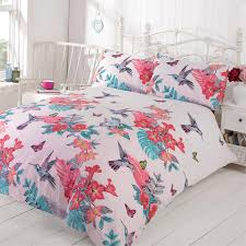 tropical nature humming birds duvet cover set with pretty flowers