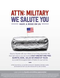 Chipotle Military Active Offer Those Veterans Saluting Announces Bogo Business And Who For Wire Serve