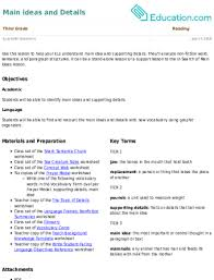 Frayer Model Language Arts Main Ideas And Details Lesson Plan Education Com Lesson Plan