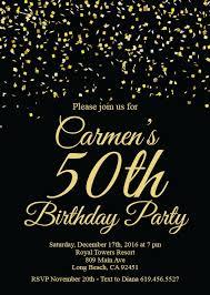 50th Birthday Invitations Templates 50th Birthday Invitation Printable Gold Black Birthday Invitation E Card Invitation Template Birthday Invitation Surprise Birthday Party