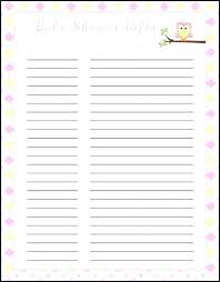 Printable Baby Shower Gift Registry Checklist Target Templates ...