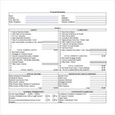personnal financial statement personal financial statement template example of form primary