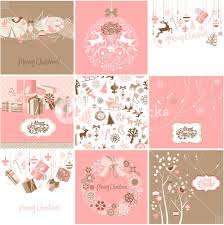 Pink Christmas Card Set Of Pink And Brown Christmas Cards Royalty Free Stock Image