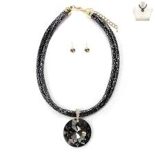 big rhinestone pendant cord necklace set